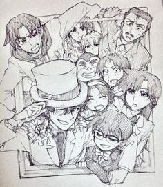 --Detective Conan--and Majgic Kaito characters, busting out of the frame. Conan Comics, Detektif Conan, Magic Kaito, Kaito Kuroba, Detective Conan Wallpapers, Gosho Aoyama, Kaito Kid, Anime Art, Manga Art