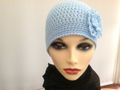 Ladies Crochet Hat in Pale Blue with nice by Creationsbykandpj