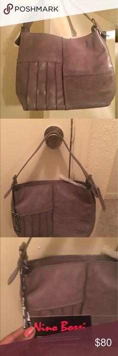 NEW NINO BOSSI LEATHER HANDBAG Gray, soft leather, medium size handbag. Nino Bossi Bags