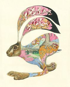March Hare art Daniel Mackie Art Deco and Ukiyo e Influenced Animal Illustration inspiration Art And Illustration, Watercolor Illustration, Animal Illustrations, Watercolor Artwork, Watercolor Animals, Watercolor Artists, Lapin Art, Rabbit Art, Bunny Art