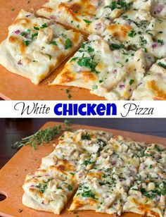 Garlic, Chicken & Herb White Pizza - Roasted garlic sauce topped with chicken, red onions, and herbs. A great white chicken pizza that will rival any pizza out there! White Chicken Pizza, White Pizza Sauce, Sauce Pizza, Pizza Pizza, Chicken Alfredo Pizza, Naan Pizza, Garlic Sauce For Pizza, Barbecue Chicken Pizza, Buffalo Chicken Pizza