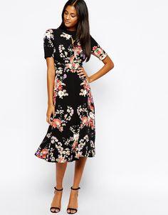 Image 4 ofGlamorous Tall High Neck Floral Print Midi Skater Dress