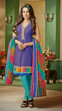 Karisma Kapoor In Purple Anarkali Suit BR108044