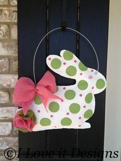 Bunny Burlap Door Hanger by ILoveItDesigns on Etsy, $28.00