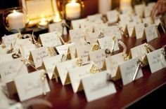 Using keys on part of the place cards and could double as favors for guest unlocking love theme (Found on Weddingbee.com Share your inspiration today!)