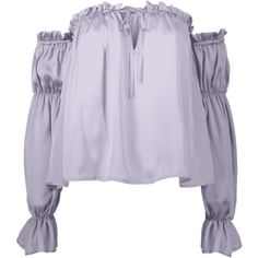 Ruffles Off Shoulder Top ($15) ❤ liked on Polyvore featuring tops, blouses, zaful, purple top, ruffle blouse, flounce blouse, ruffle top and purple ruffle blouse
