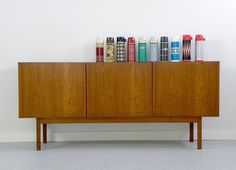 1960's Danish Modern Teak Credenza & vintage thermos collection, via Cathode Blue on Etsy / www.etsy.com/shop/cathodeblue