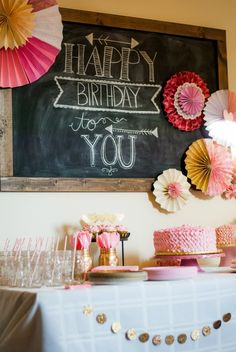 pink and gold first birthday party @Emily Schoenfeld Schoenfeld Evans you should do this for Savvy :)  It'll match her birth announcements!