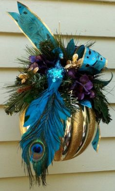 Christmas •~• embellished peacock ball ornament