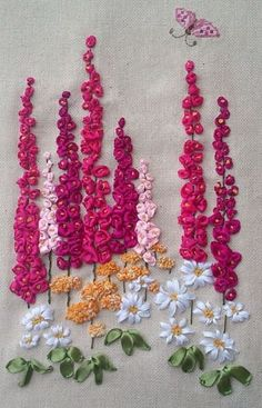 Wonderful Ribbon Embroidery Flowers by Hand Ideas. Enchanting Ribbon Embroidery Flowers by Hand Ideas. Flower Embroidery Designs, Paper Embroidery, Rose Embroidery, Hand Embroidery Stitches, Silk Ribbon Embroidery, Embroidery Patterns, Doily Patterns, Embroidery Supplies, Dress Patterns
