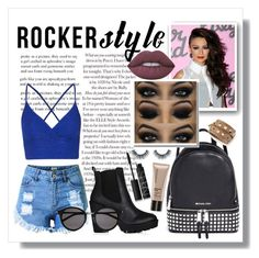 """Rocker Style"" by hoopermaggie ❤ liked on Polyvore featuring Michael Kors, Topshop, Bare Escentuals, NARS Cosmetics, Valentino, Lime Crime and Yves Saint Laurent"