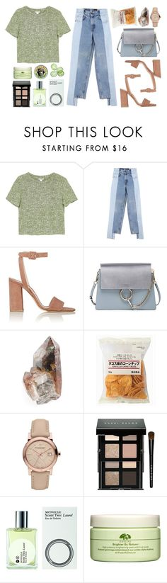 """Green Room"" by mariimontero ❤ liked on Polyvore featuring Monki, Alxvndra, Barneys New York, Chloé, Burberry, Bobbi Brown Cosmetics, Comme des Garçons, Origins and Burt's Bees"