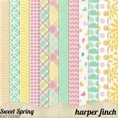 Sweet Spring Patterns by harperfinch ✿ Follow the Free Digital Scrapbook board for daily freebies: www.pinterest.com... ✿ Visit GrannyEnchanted.Com for thousands of digital scrapbook freebies. ✿