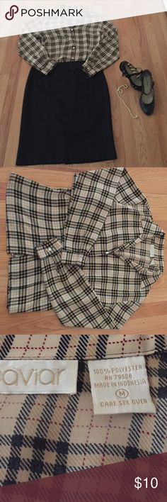 Plaid Button Down Blouse Great over leggings jeans or with a little black skirt- uncomplicated & will give an easy going pulled together look . Size m made by Caviar Caviar  Tops Button Down Shirts