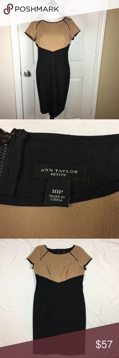 """Ann Taylor Professional Dress Black and Tan color block. Capped sleeves. Back zipper. Size 10 Petite 10P. Comfortable polyester Rayon spandex blend. When laid flat, 43 inches long, 18.5 inches across the bust from armpit to armpit. 16.5 inches across the waist. Ask any questions. Make an offer using the """"offer"""" button. 15% discount on bundles. (A) Ann Taylor Dresses"""