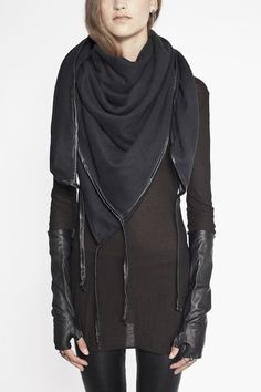 Scarf with Washed Leather Binding ~ Ovate.
