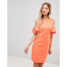Ted Baker Extreme Cut Out Shoulder Dress ($279) ❤ liked on Polyvore featuring dresses, orange, orange bodycon dress, ruffle cocktail dress, ruffle sleeve dress, cold shoulder cocktail dress and orange dresses