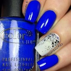 """""""Bright Night""""! The white is OPI's """"Alpine Snow"""" with a glitter gradient using """"Which is Witch?"""""""