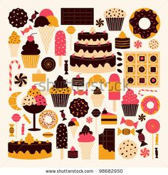 A set of dessert icons in brown, pink and orange. by Iveta Angelova, via Shutterstock