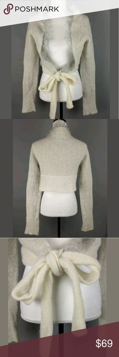 Sarah Pacini Mohair Wool Cropped Tie Sweater Italy Measurements/condition are in the pics. Let me know if you have any questions! Sarah Pacini Sweaters