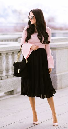 #fall #outfits women's pink trumpet-sleeve shirt and black midi skirt