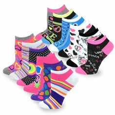 22.21$  Buy now - http://vizug.justgood.pw/vig/item.php?t=u5ujzyv34553 - TeeHee Women's Fashion No Show Fun Socks 12 Pair Pack (Love Peace Lips-Rainbow Hearts)