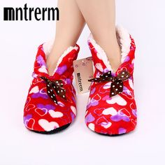 08164f515ecd5 Mntrerm Winter Warm Cotton-padded Shoes Love Graphic Design Home Slippers  Soft Bottom Indoor House Shoes Warmer Women Slippers