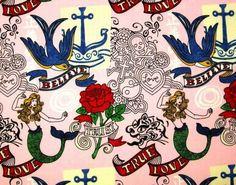Custom rockabilly mermaids, anchors, roses, skulls, Believe, True Love and Tust crib bedding set on Etsy, $275.00