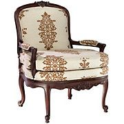 Acorn Linen Scroll Carved Arm Chair