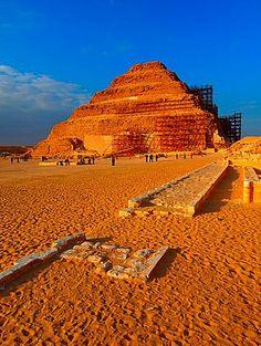 Zosers Pyramid archeological remains, Saqqara necropolis, near Memphis, Egypt