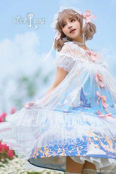 R-series -Blue Bird- Vintage Classic Lolita OP Dress Cute Princess, Fantasy Girl, Lolita Dress, Lolita Fashion, Blue Bird, Cute Girls, Flower Girl Dresses, Cosplay, Culture