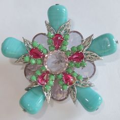 Vintage-SCHREINER-Lavender-Fuchsia-Rhinestone-Turquoise-Glass-Brooch-Earrings