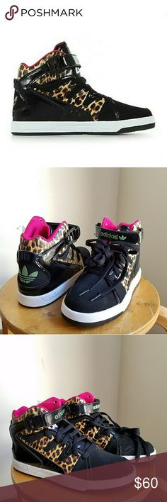 Rare Adidas funk old school retro hi top sneakers New with tags. Rare Adidas Originals  MC X1 funky hi tops sneakers. Size 6.5. Will fit 6.5-7 us in ladies.  Super cool retro vibes with a wild twist: color blocked design in black, leopard and pink. Contrasting Adidas logo in green at heel and front close ♡   Retail for 128, no longer sold at stores.   ● 20% off on bundles   Adidas originals 3 stripes tennis sneakers kicks animal print leopard hi top booties retro hip hop bling bling gangsta…