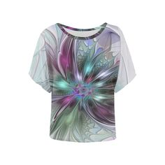 Colorful Fantasy Abstract Modern Fractal Flower Women's Batwing-Sleeved Blouse T shirt (Model T43)