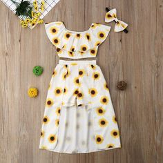 Fashion Kids Baby Girl Sunflower Clothes Off Shoulder Crop Tops Shorts Dress Headband Outfits Set Cute Girl Outfits, Cute Outfits For Kids, Cute Summer Outfits, Cute Casual Outfits, Outfits For Teens, Pretty Outfits, Clothes For Kids Girls, Cute Stuff For Girls, Teen Girl Clothes