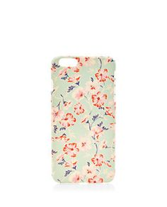 Mint Green Floral Print iPhone 6 Plus Case    New Look