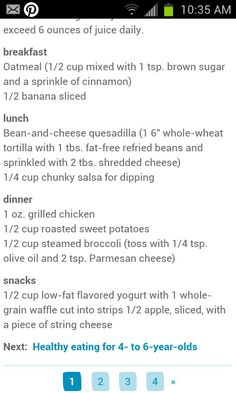 Healthy meal plan for toddlers 1-3