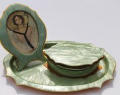 Art Deco Dresser Set, Frame, Tray and Box Green Celluloid 1930's