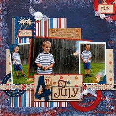 4th Of July Sparkler Layout by Heather Landry.