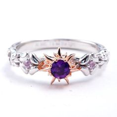 Rapunzel Natural Amethyst and Pink Sapphire Fairy Tale Engagement Ring Promise Ring Wedding Ring Tangled Flynn Rider Cosplay Costume Jewelry At last you've seen the light so let's make it official! This beautiful ring can be set in 925 sterling silver, Disney Engagement Rings, Disney Wedding Rings, Pink Wedding Rings, Gold Diamond Wedding Band, Vintage Engagement Rings, Tangled Wedding, Solitaire Engagement, Gold Wedding, Unique Diamond Rings