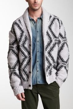 EDUN Handknit Wool Shawl Collar Cardigan