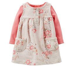 "Carter's Girls 2 Piece Floral Printed French Terry Jumper and Pink Bodysuit Set - Carters - Babies ""R"" Us Baby Outfits, Little Girl Outfits, Little Girl Fashion, Little Girl Dresses, Toddler Outfits, Kids Outfits, Kids Fashion, Girls Dresses, Dress Girl"