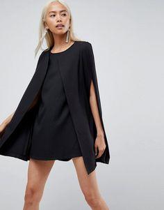 Unique 21 Cape Shift Dress - Black