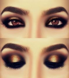 smouldering gold eye makeup for brown eyes