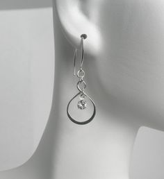 Sterling Silver Infinity Crystal Drop by MarisaDianeDesigns, $25.00