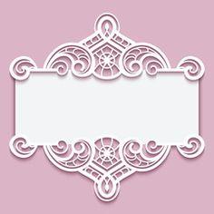 Cutout paper frame with lace border ornament Rose Frame, Flower Frame, Flower Background Wallpaper, Flower Backgrounds, Wedding Invitation Background, Picture Frame Decor, Golden Pattern, Creative Poster Design, Vinyl Paper