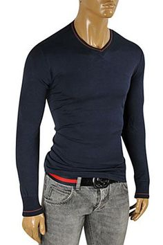 5b64aa47f34 GUCCI Men s V-Neck Long Sleeve Shirt In Navy Blue  327