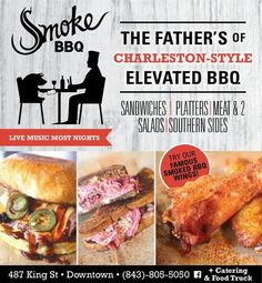 "If you haven't heard Smoke BBQ is making some noise with ""elevated BBQ"" on Upper King Street. That's what you get when you pair a Blue's Driven Rock & Roll themed bar with Charleston Style BBQ and fresh local ingredients. Happy Hour specials available on Monday - Friday from 4 -8pm. Come out after work and enjoy $4 well drinks, $3 Yuengling, $2 High Life & Bud Light. Food menu is $3-6 and includes: Carnitas Tacos, Get Loaded Hash, Wings & Pickles, Pimento Grilled Cheese and Smoke Pork. Smoke…"