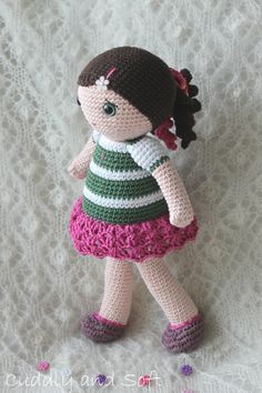 Elizabeth  amigurumi doll by CuddlyandSoft on Etsy, MATERIALS: Yarn 100% Egyptian cotton (Garnstudio Drops Muskat) , stuffed 100% sheep's fleece, hand painted safety eyes, flower-patterned button. Clothes are not removable. Elizabeth is a friendly little miss with a beautiful braid and frilly panties. Her dress and little shoes are attached to the body and cannot be removed. Her eyes are hand-painted and they shine with bright joy.