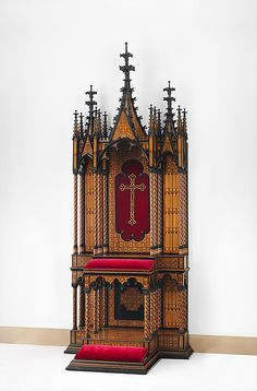 Prie-dieu, Maker: Stammer & Breul (active mid-19th century) Date: 1855 Culture: Austrian, Vienna Medium: Oak and pine veneered with rosewood, tulipwood, ebony and ebonized wood, and micromosaic decoration of various natural and stained woods; modern silk-velvet; coated brass.